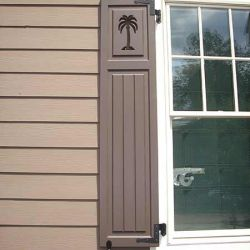 Bead Board Shutters With Palm Tree