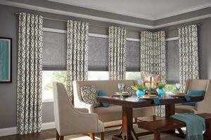 gray kitchen with window shades and drapes