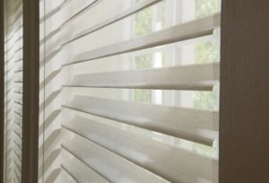 closeup of white blinds