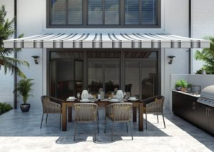 striped awning and patio