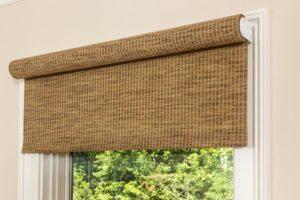 closeup of brown window shade
