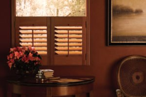 hardwood shutters in living space