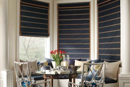 dining area with dark shades